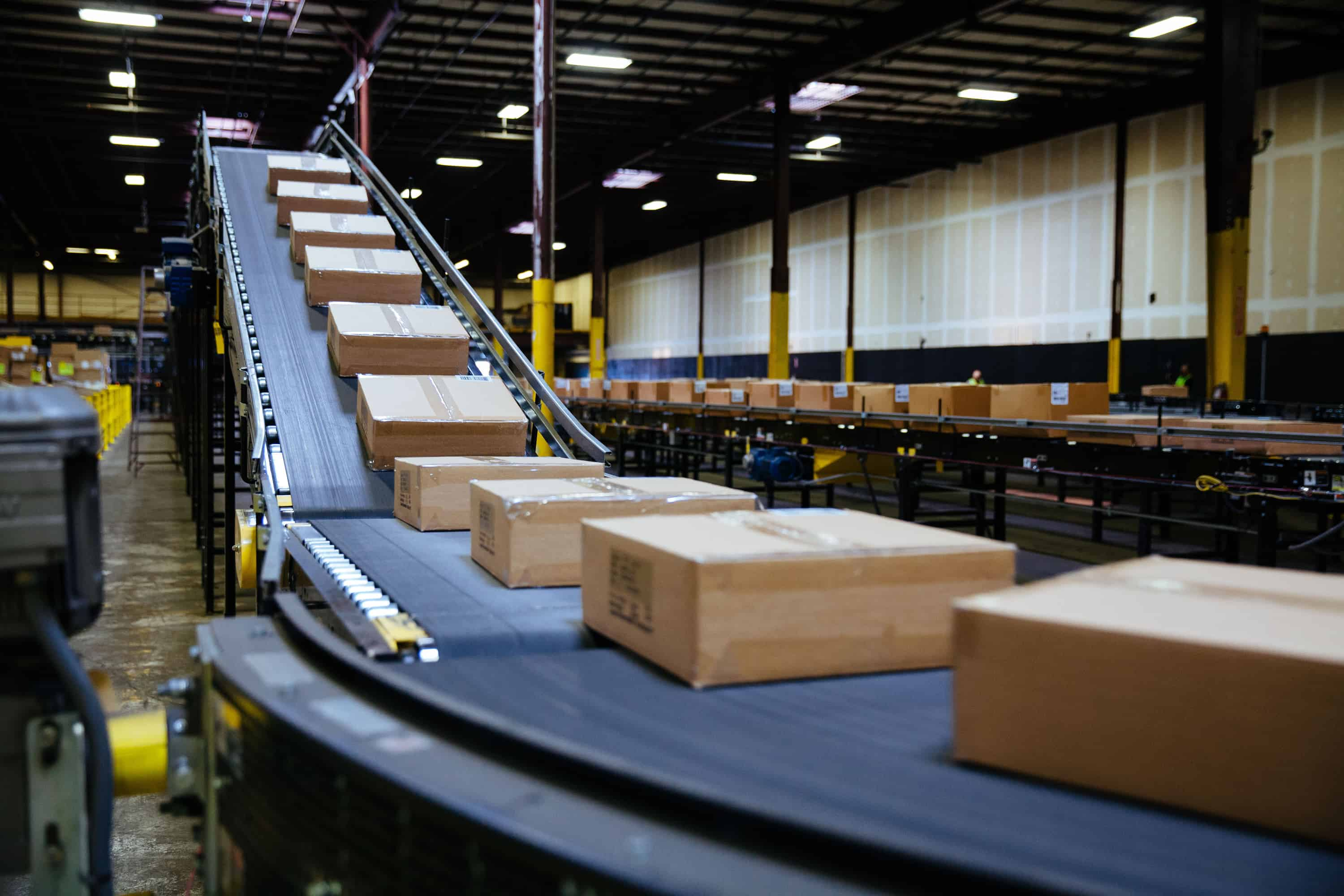 Boxes going down conveyor belt